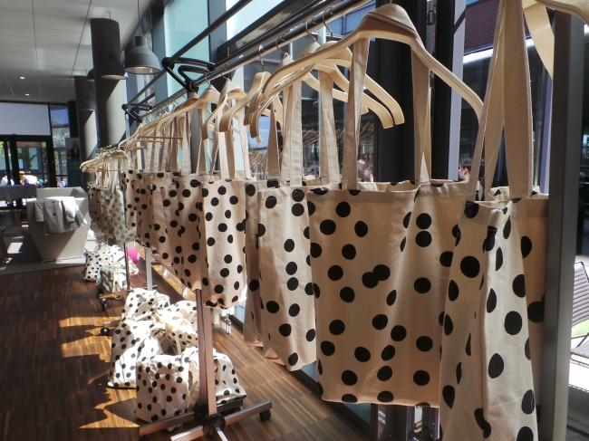 Polka dotted tote bags from The Hive